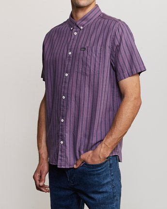2 Shuffle Stripe Button-Up Shirt Purple M564URAS RVCA