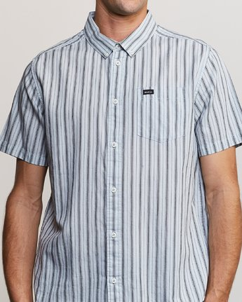 4 Shuffle Stripe Button-Up Shirt Blue M564URAS RVCA