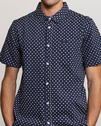 3 Gauze Dot Button-Up Shirt Blue M566URPD RVCA