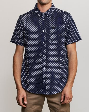 0 Gauze Dot Button-Up Shirt Blue M566URPD RVCA