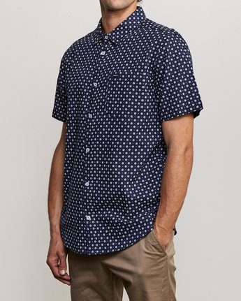 2 Gauze Dot Button-Up Shirt Blue M566URPD RVCA