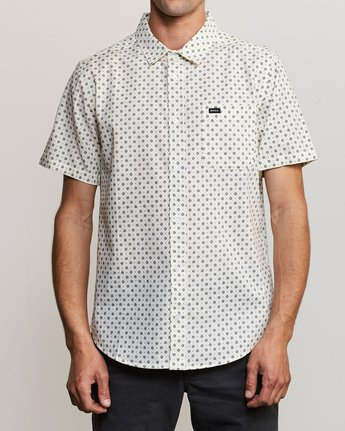 0 Gauze Dot Button-Up Shirt White M566URPD RVCA