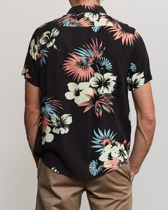 3 Romeo Floral Button-Up Shirt Black M567URRF RVCA
