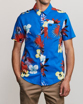 2 Romeo Floral Button-Up Shirt Blue M567URRF RVCA