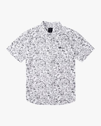 4 Sketchy Palms Button-Up Shirt White M572URSP RVCA