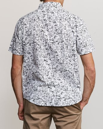 3 Sketchy Palms Button-Up Shirt White M572URSP RVCA