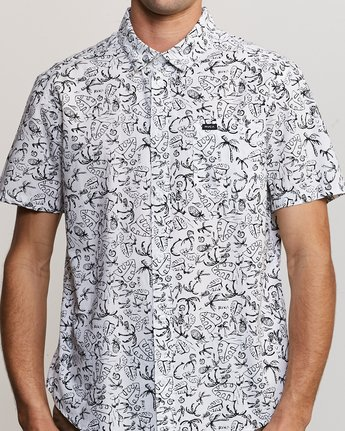 3 Sketchy Palms Button-Up Shirt White M572URSP RVCA