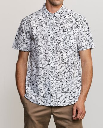 0 Sketchy Palms Button-Up Shirt White M572URSP RVCA