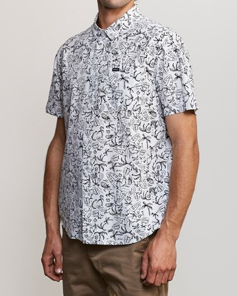 2 Sketchy Palms Button-Up Shirt White M572URSP RVCA