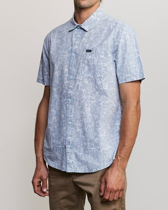 2 Sketchy Palms Button-Up Shirt Blue M572URSP RVCA