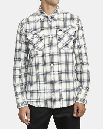 1 THATLL WORK FLANNEL LONG SLEEVE SHIRT White M5993RTW RVCA