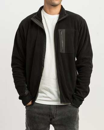 1 Theros Zip Polar Fleece Jacket Black M604SRTH RVCA