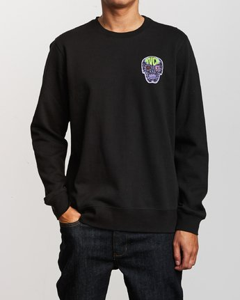 2 Leisure Crew Sweatshirt Black M608VRLC RVCA