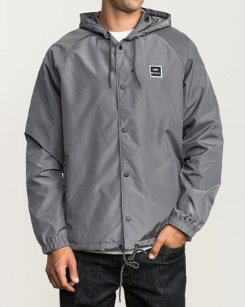 1 VA Hooded Coaches Jacket Grey M701NRVA RVCA