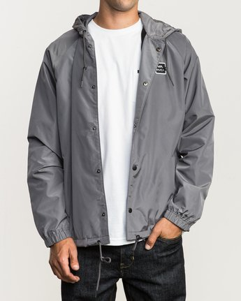 2 VA Hooded Coaches Jacket Grey M701NRVA RVCA