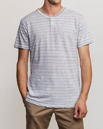1 Exhauster Henley Knit Shirt White M901UREX RVCA