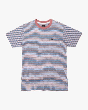 0 Foz Striped Crew Knit T-Shirt Grey M902VRFS RVCA