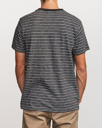 3 Foz Striped Crew Knit T-Shirt Black M902VRFS RVCA