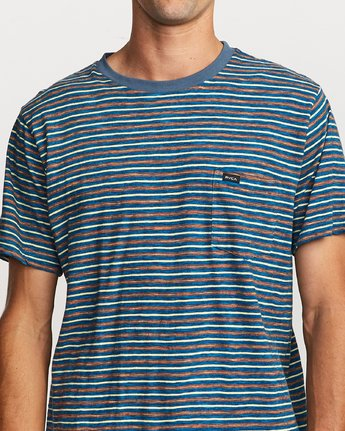 4 Foz Striped Crew Knit T-Shirt Blue M902VRFS RVCA