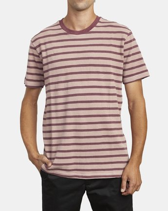 2 GREENWICH STRIPE SHORT SLEEVE KNIT TEE Red M9033RGS RVCA