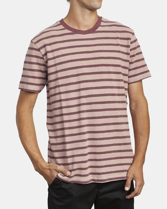 4 GREENWICH STRIPE SHORT SLEEVE KNIT TEE Red M9033RGS RVCA