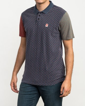 2 Remastered Printed Polo Shirt Blue M903QRRP RVCA