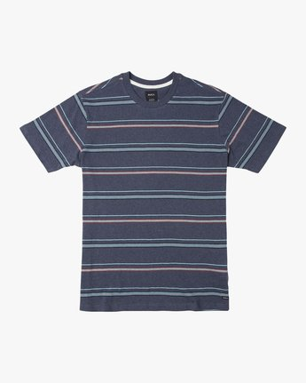 0 Avila Striped Knit T-Shirt Blue M903TRAS RVCA