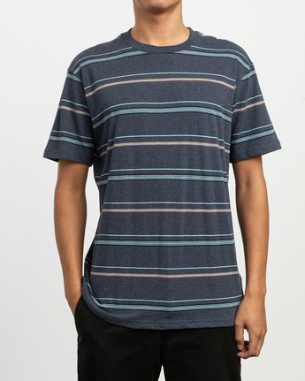 1 Avila Striped Knit T-Shirt Blue M903TRAS RVCA