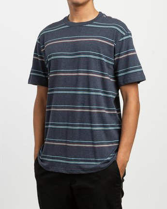 2 Avila Striped Knit T-Shirt Blue M903TRAS RVCA