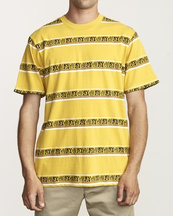 1 CAIRO STRIPED KNIT T-SHIRT Yellow M9041RCC RVCA