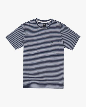 0 DOWNLINE STRIPE SHORT SLEEVE T-SHIRT Blue M9042RDL RVCA