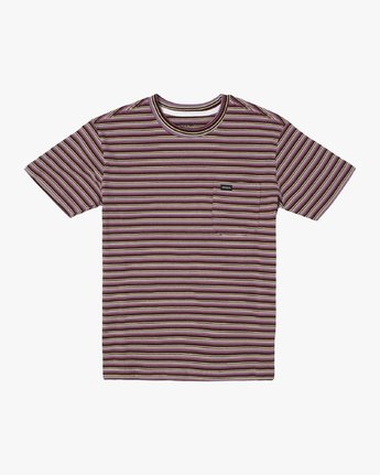 0 DOWNLINE STRIPE SHORT SLEEVE T-SHIRT Red M9042RDL RVCA