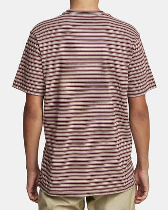 6 DOWNLINE STRIPE SHORT SLEEVE T-SHIRT Red M9042RDL RVCA