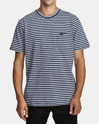 1 DOWNLINE STRIPE SHORT SLEEVE T-SHIRT Blue M9042RDL RVCA