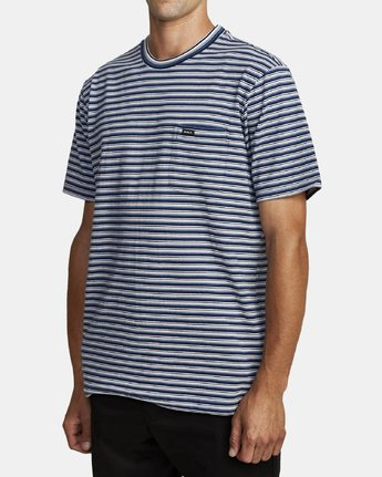 3 DOWNLINE STRIPE SHORT SLEEVE T-SHIRT Blue M9042RDL RVCA