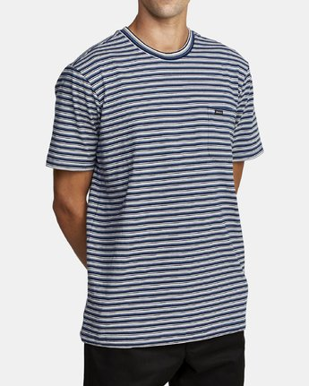 4 DOWNLINE STRIPE SHORT SLEEVE T-SHIRT Blue M9042RDL RVCA