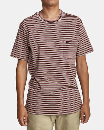 1 DOWNLINE STRIPE SHORT SLEEVE T-SHIRT Red M9042RDL RVCA