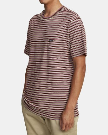 2 DOWNLINE STRIPE SHORT SLEEVE T-SHIRT Red M9042RDL RVCA