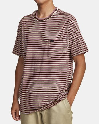 4 DOWNLINE STRIPE SHORT SLEEVE T-SHIRT Red M9042RDL RVCA