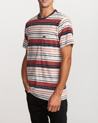 3 Deadbeat Stripe Knit T-Shirt Green M904VRDS RVCA