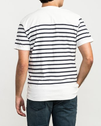 3 Dean Stripe Knit T-Shirt White M906QRDS RVCA