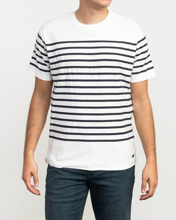 1 Dean Stripe Knit T-Shirt White M906QRDS RVCA