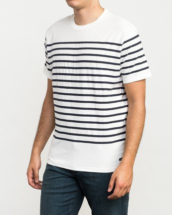 2 Dean Stripe Knit T-Shirt White M906QRDS RVCA