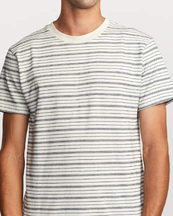 4 Amenity Stripe Knit T-Shirt Silver M906VRAT RVCA
