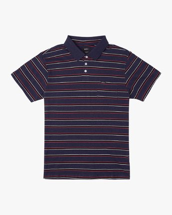 0 Desmond Stripe Polo Shirt Blue M908URDS RVCA