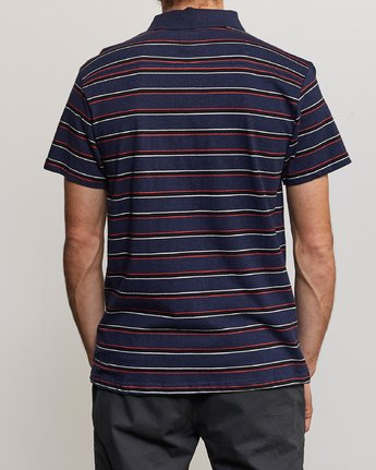 3 Desmond Stripe Polo Shirt Blue M908URDS RVCA