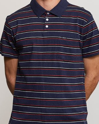 4 Desmond Stripe Polo Shirt Blue M908URDS RVCA