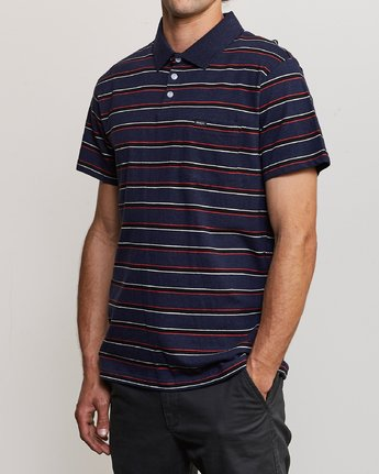 2 Desmond Stripe Polo Shirt Blue M908URDS RVCA