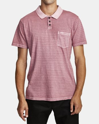 1 PTC STRIPE POLO SHORT SLEEVE SHIRT Purple M9092RPS RVCA