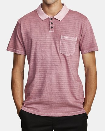 2 PTC STRIPE POLO SHORT SLEEVE SHIRT Purple M9092RPS RVCA